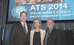 ATS President-elect Thomas Ferkol (left), President Patricia Finn, and Philip Hopewell speak at Opening Ceremony.